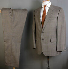 DAKS SUIT 39R 40R 36W 28L BROWN WOOL PRINCE OF WALES CHECK