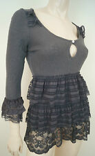 ODD MOLLY Grey Cotton & Wool Rib Scoop Neck Layered Lace Trim Tunic Top Sz:1 S