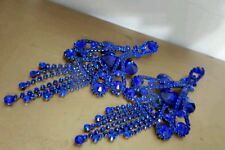 Chandelier Royal Blue Clip on Crystal dangle earrings drag queen beauty pageant