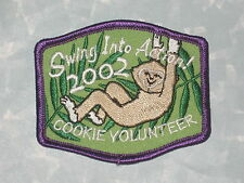 "Swing Into Action! Patch - 2002 Cookie Volunteer - Girl Scouts - 3"" x 2 1/2"""