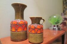 Pair of FAT LAVA West Germany by JASBA matching Glazes,Free UK Postage & Packing