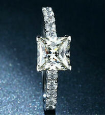 1.5 ct Princess Cut diamante solitario anello di fidanzamento, platino marchiato