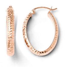 Leslies 10k Rose Gold Diamond Cut Oval Hinged Hoop Earrings