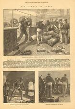 Steamship Voyage To China, Mail Ship, Sailors, Vintage 1872 Antique Art Print