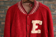 VTG 50s BUTWIN RED WOOL REVERSIBLE LETTER VARSITY COLLEGE JACKET USA MEDIUM