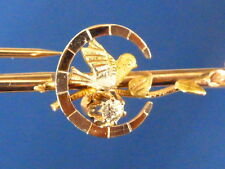 VICTORIAN 10K ROSE YELLOW WHITE GOLD EUROPEAN CUT DIAMOND BIRD PIN BROOCH