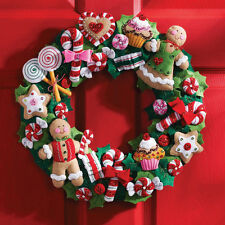 """Cookies & Candy Wreath Felt Applique Kit-15"""" Round"""