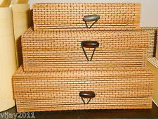 ONE SET BAMBOO STRAW BEADS BOXES MULTI USE MEDIUM BROWN