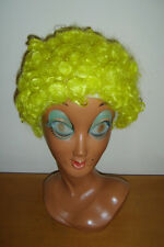Short Curly Yellow Wig Clown Circus Afro Disco Mens Ladies Fancy Dress Costume