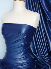 Fremch Blue Blue Wet Look 4 Way Stretch Lycra Fabric Q925 FBL