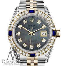 Rolex 31mm Datejust Watch Black MOP Dial with Sapphire & Diamond Bezel