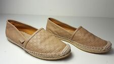 $395 size 36 Gucci Pilar Guccisima GG Camel Leather Flat Espadrille Womens Shoes
