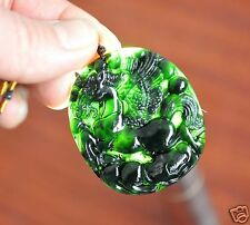 Chinese Natural Nephrite Hetian Dark Green Jade Carved Horse Pendant