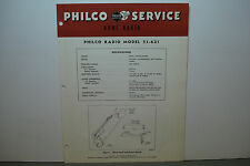 PHILCO RADIO-PHONOGRAPH SERVICE MANUAL MODEL 51-631 4 PAGES