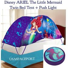 Kids Disney ARIEL The Little Mermaid BED TENT + Push Night Light Set TWIN/Single