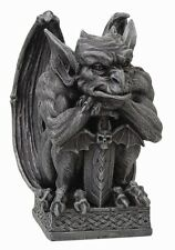 GARGOYLE WITH SWORD STATUE GUARDIAN FIGURINE.UNIQUE DECORATIVE COLLECTIBLE