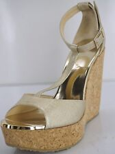Jimmy Choo Pela T Strap Wedge espadrille Sandals SZ 38 Metallic Gold $495 NIB