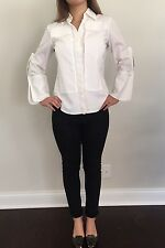 Pascal Humbert Paris White Women Cotton Shirt With Details In Size 42 It, S Usa