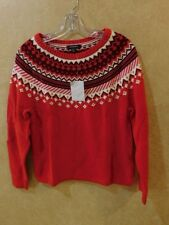 Lands End Women Sweater Red and Ivory - Size Small 6-8  ______________R14F4