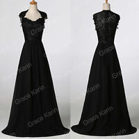 Sexy Vintage 50S Long Masquerade Party Ball Gowns PROM Evening Black Lace Dress