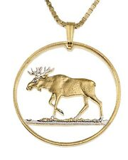 """Moose Pendant and Necklace,Hand Cut Poland Moose Coin, 1 1/4"""" in Dia.,( # 913  )"""