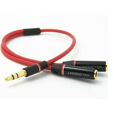 3.5mm Gold Male to 2 Dual Female Jack Splitter Headphone Y Audio Adaptor Cable