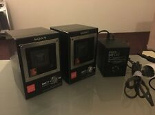Vintage SONY APM-007AV Mini Speakers with Magnetically Shielded Amp. 1980s Rare