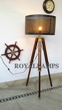 Antique Finish Wooden Adjustable Floor Shade Lamp Stand Tripod  Decorative Lamp
