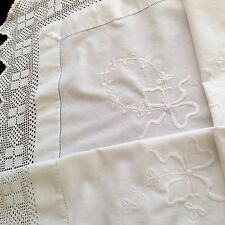 Vintage Embroidered White Cotton Hand Crochet Table Cloth 43x43 Inches