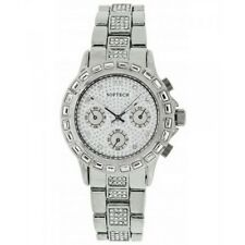 Softech Diamante Dial & Bracelet Designer Silver Plated Watch Analog Quartz