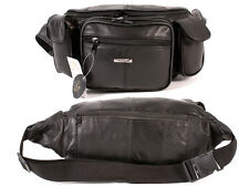 MEN'S REAL SOFT LEATHER MEGA BUM BAG TRAVEL DOCUMENT WAIST MONEY BAG BLACK