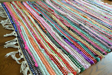 Chindi Rag Rug Shabby Chic Handloom Recycled Cotton 70x125cm Handmade Economical