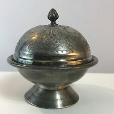 Antique Victorian Era Silver Plate Covered Butter Warmer W / Tray