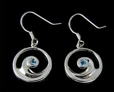 GENUINE BLUE TOPAZ SILVER 925 HAWAIIAN OCEAN WAVE HOOK EARRINGS RHODIUM 16.35MM