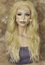 Heat Resistant Lace Front Wig Long Wavy Pale Blonde sy  #613