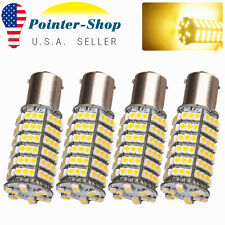 4X Warm White 1156 BA15S LED 120-SMD Light bulbs Turn Signal RV Camper 1141 1003