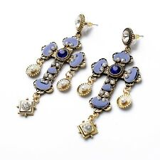 ANTHROPOLOGIE BAROQUE STYLE BLUE CROSS DROP DANGLE STATEMENT EARRINGS - NEW
