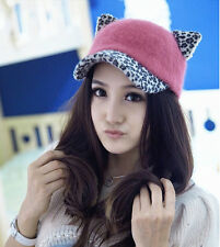 Leopard Print Pink Cute Devil Horn Cat Ear Snapback Adjustable Baseball X'masHat