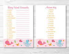 """Pink Under The Sea Printable Baby Shower """"Baby Word Scramble"""" Game Cards"""