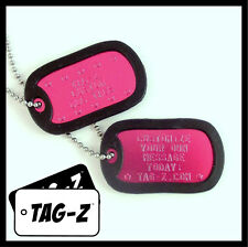 2 Military Dog Tags - Custom Embossed HOT PINK - GI Identification w/ Silencers