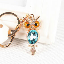 Animal Mini Owl Lovely Charm Pendant Oval Blue Crystal Purse Bag Key Chain Gift