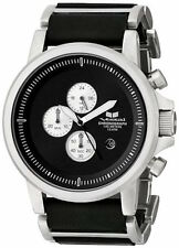 VESTAL Men's Black & Silver PLEXI LEATHER Watch PLE036 New In Original Box