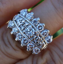 1.60ct H/VS-Si1 diamond vintage 3 row diamond ring 14k YG