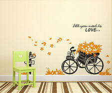 Wall Stickers Floral Bicycle Quote All You Need is Love in Garden 5700044