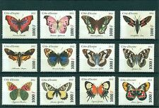 Ivory Coast Butterflies Schmetterlinge Insects Papillons 12 MNH stamps set