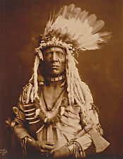 "1900 Old Photo, Native American Portrait, tomahawk, Piegan, Headdress, 14""x11"""