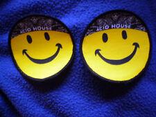2 Stück Aufnäher / Patch - ACID HOUSE - SMILEY 7,5 cm Rund Neon-Gelb / Neu