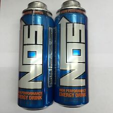 Nos Energy Drink 24oz Twist Off Cans. Total 2 Cans Lot. Latest 2016 Edition