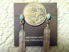 Turquoise & Sterling Silver Feather  Earrings  Navajo Made