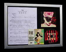 PINK Try GALLERY QUALITY MUSIC CD FRAMED DISPLAY+EXPRESS GLOBAL SHIP+TRUTH LOVE